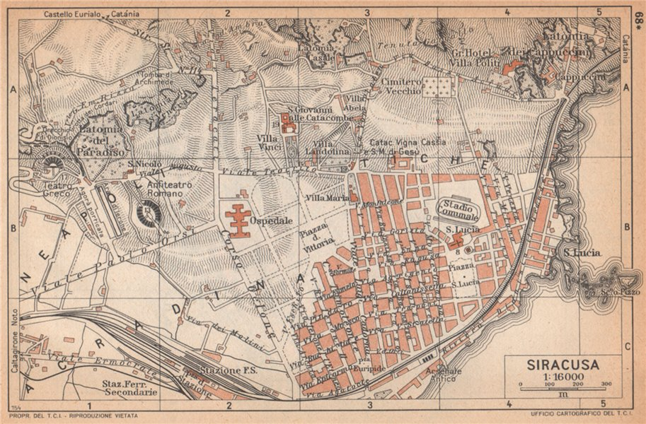 Associate Product SIRACUSA SIRACUSE vintage town city pianta della città. Italy 1958 old map