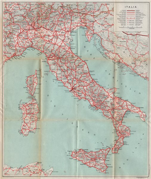 Associate Product ITALIA Italy showing first autopistas motorways 1958 old vintage map chart