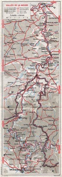 Associate Product VALLÉE DE LA MEUSE valley. Namur-Dinant-Charleville-Mezières. Belgium 1955 map