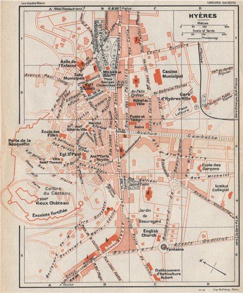 Associate Product HYÈRES vintage town city plan de la ville. Var 1930 old vintage map chart