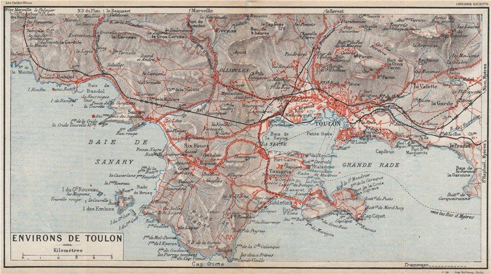Associate Product TOULON environs. Six-Fours Sanary La Seyne St Mandrier-sur-Mer. Var 1930 map