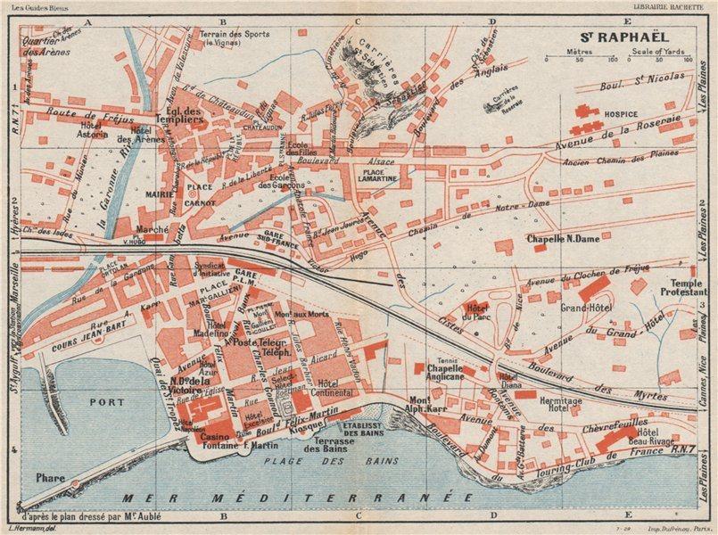 Associate Product ST. RAPHAËL vintage town city plan de la ville. St Raphael. Var 1930 old map