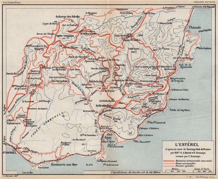 Associate Product L'ESTÉREL vintage motor & cycling map. Chemins cyclables. Provence 1930