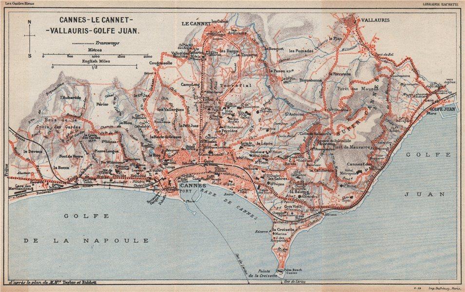Associate Product CANNES & environs. Le Cannet Vallauris Golfe-Juan. Alpes-Maritimes  1930 map