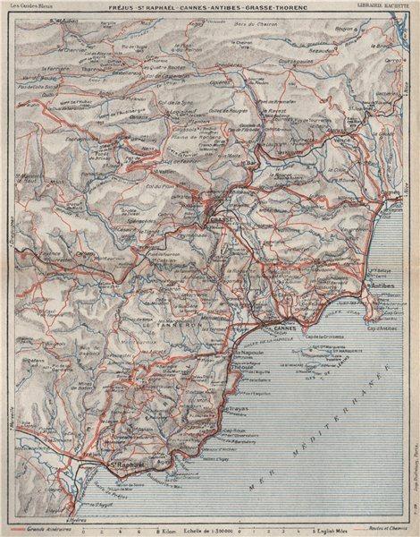Associate Product CÔTE D'AZUR. St Raphaël Cannes Antibes Grasse. Var Alpes-Maritimes 1930 map