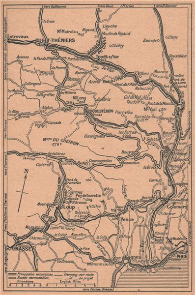 Associate Product Alpes-Maritimes motor routes. Nice Grasse Le loup Puget-Théniers 1930 old map