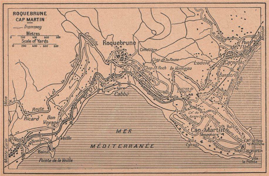 Associate Product ROQUEBRUNE CAP MARTIN vintage town ville city plan. Alpes-Maritimes 1930 map