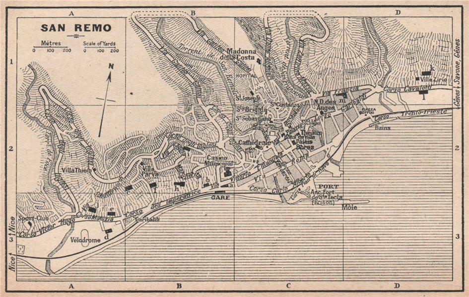 Associate Product SAN REMO SANREMO vintage town city plan pianta della città. Italy 1930 old map