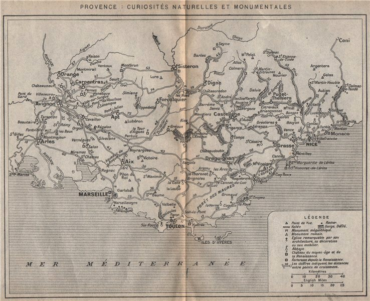 Associate Product PROVENCE vintage attractions map monuments chateaux churches viewpoints 1925
