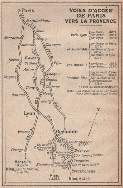 Associate Product VOIES D'ACCÈS DE PARIS VERS LA PROVENCE (before autoroutes) 1925 old map