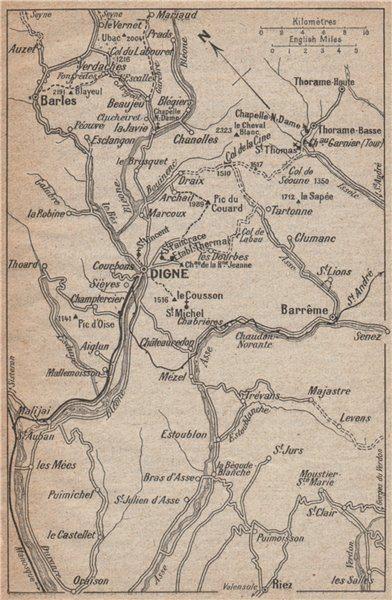 Associate Product DIGNE-LES-BAINS environs vintage map. Barrême Barles 1925 old vintage