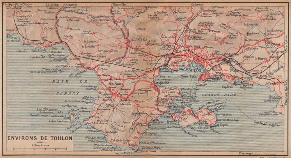 Associate Product TOULON environs. Six-Fours Sanary La Seyne St Mandrier-sur-Mer. Var 1925 map