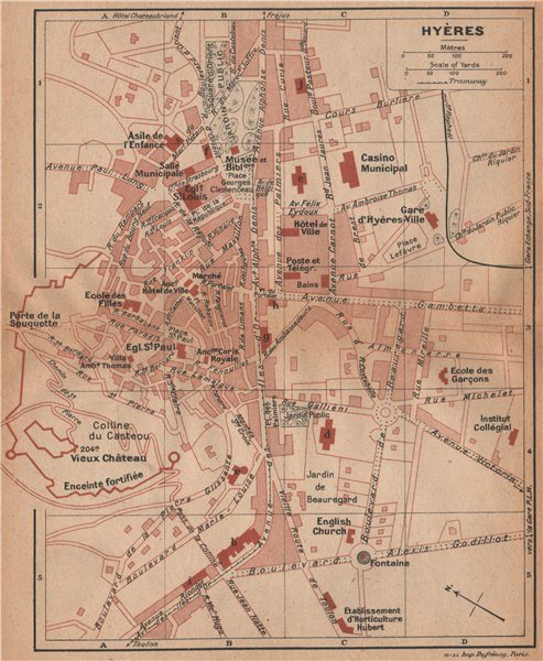Associate Product HYÈRES vintage town city plan de la ville. Var 1925 old vintage map chart