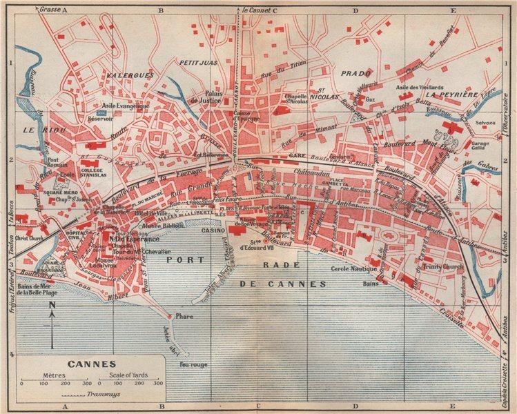 Associate Product CANNES vintage town city plan de la ville. Alpes-Maritimes  1925 old map