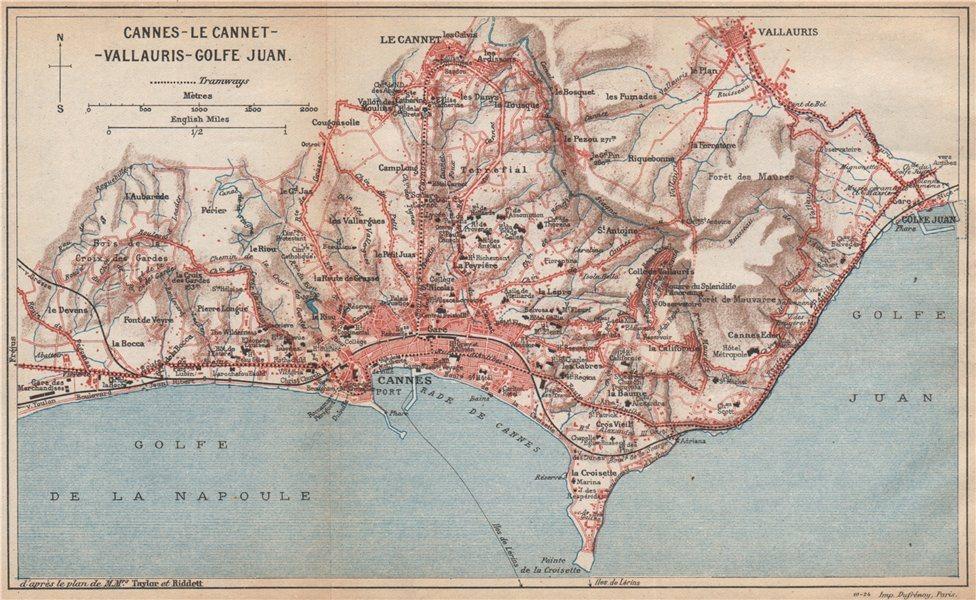 Associate Product CANNES & environs. Le Cannet vallauris Golfe-Juan. Alpes-Maritimes  1925 map