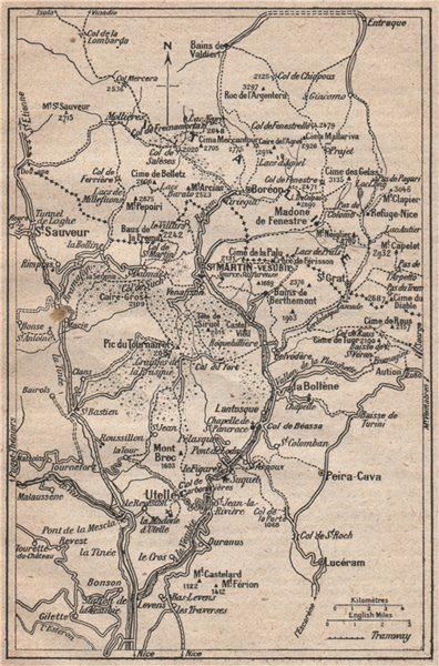 Associate Product VALLÉES DE VESUBIE & TINÉE. Mercantour. St Martin Utelle St Sauveur 1925 map