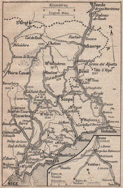 Associate Product MERCANTOUR. Sospel Tende Peira-Cava Nice Monaco Menton. Alpes-Maritimes 1925 map
