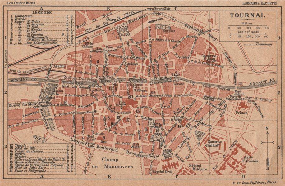 Associate Product TOURNAI. Vintage town city map plan de la ville. Belgium 1920 old vintage