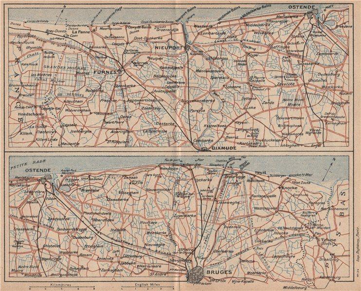 Associate Product BELGIAN COAST. Oostende Nieuport Furnes Veurne Bruges Brugge Diksmuide 1920 map