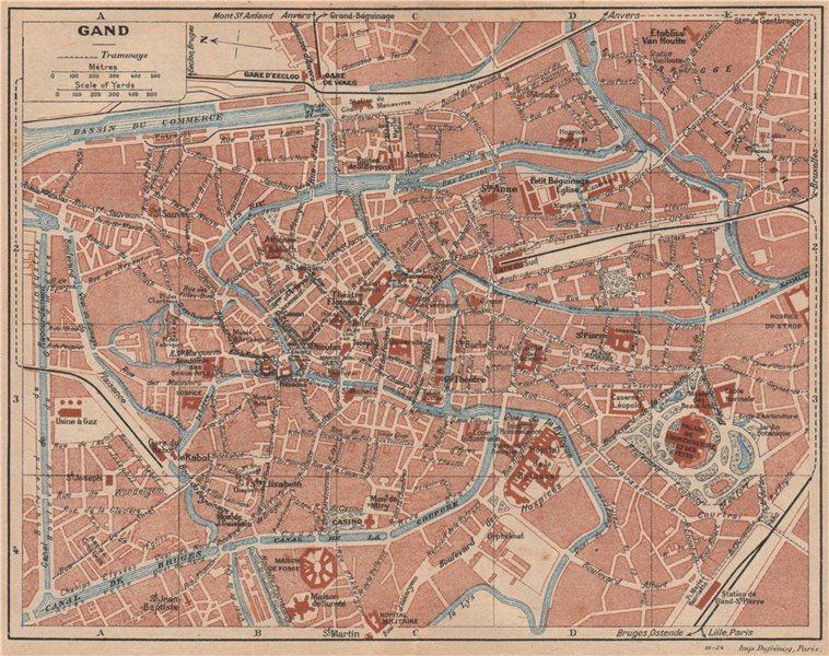 Associate Product GHENT GAND GENT. Vintage town city map plan de la ville. Belgium 1920 old