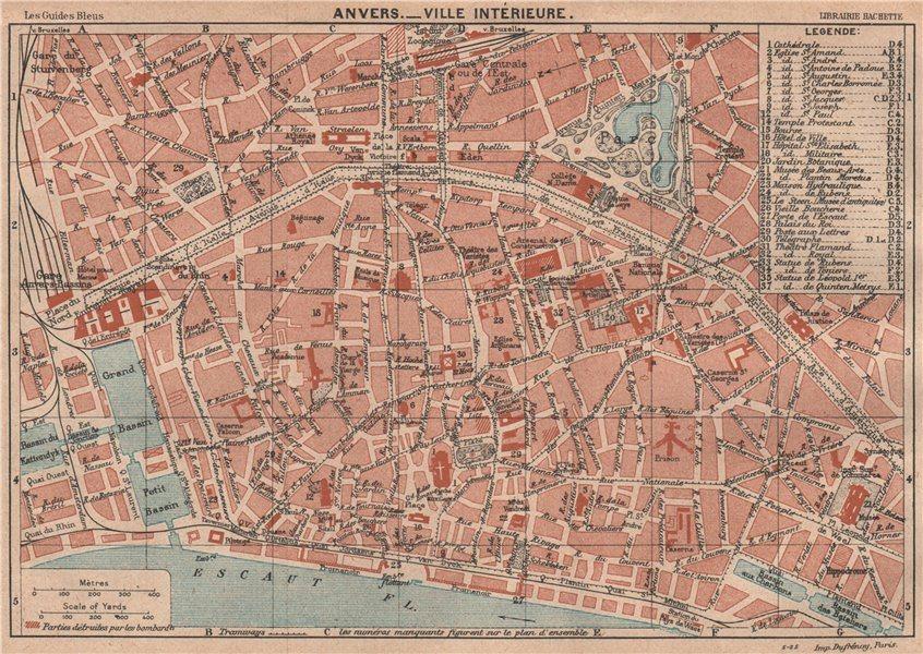 Associate Product ANTWERPEN ANVERS vintage town city centre map plan de la ville. Belgium 1920