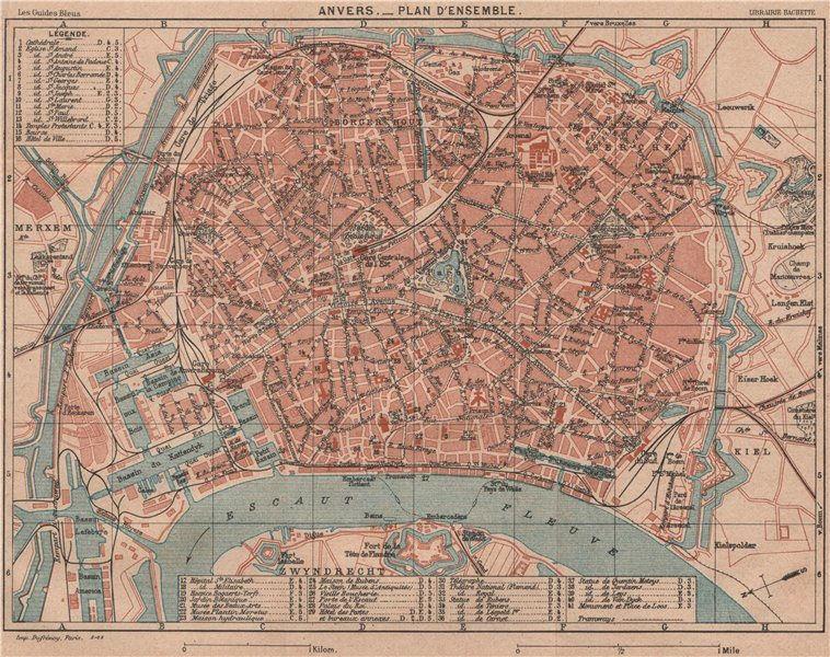 Associate Product ANTWERPEN ANVERS. Vintage town city map plan d'ensemble ville. Belgium 1920