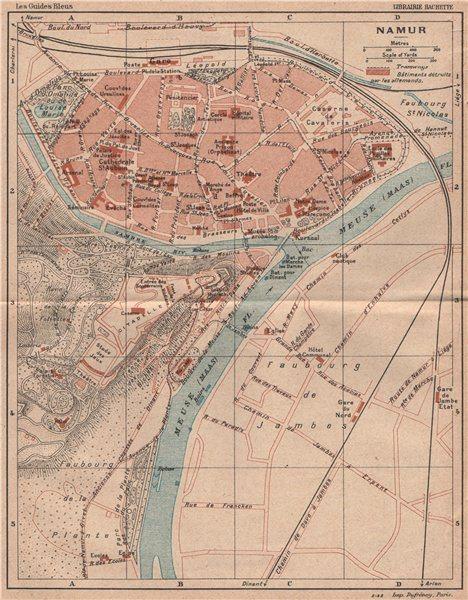 Associate Product NAMUR NAMEN NAMEUR vintage town city map plan de la ville. Belgium 1920