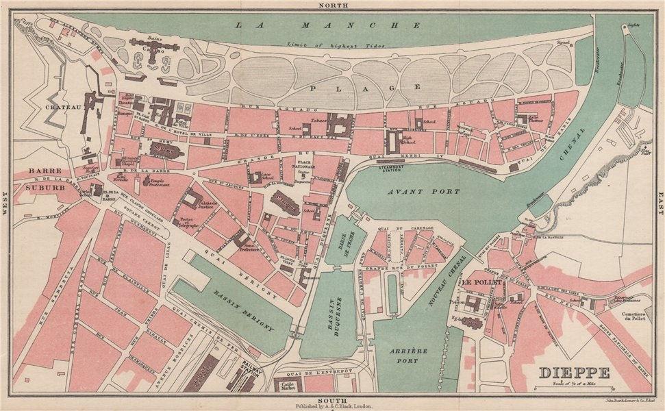 DIEPPE antique town city plan de la ville. Seine-Maritime 1913 old map