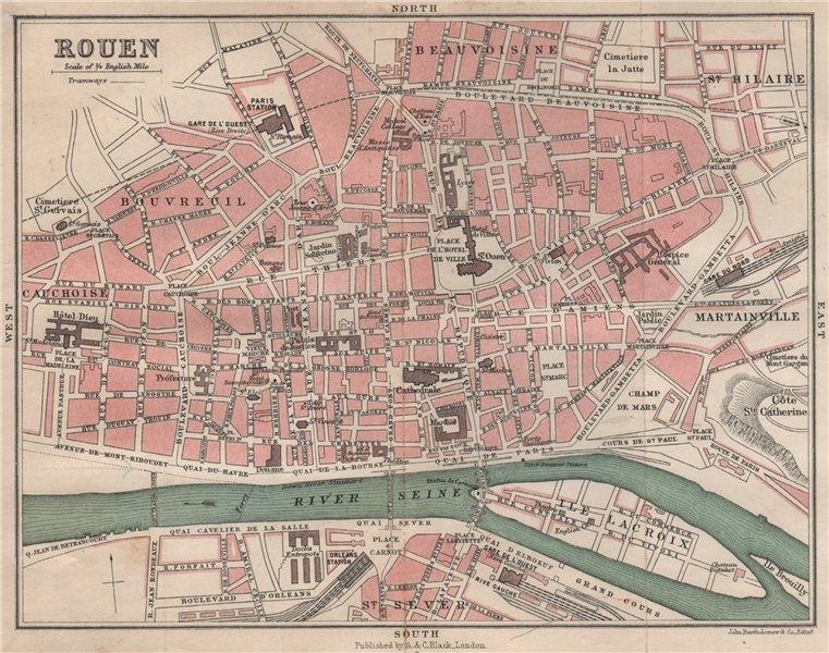Associate Product ROUEN antique town city plan de la ville. Seine-Maritime 1913 old map