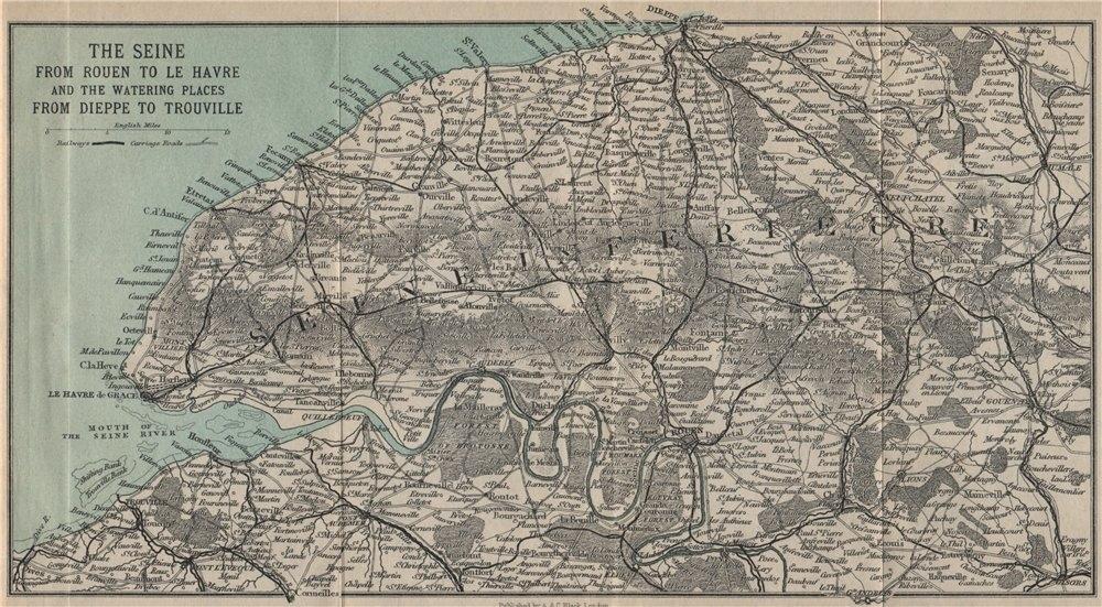 Associate Product SEINE VALLEY. Rouen-Le Havre. Seine-Maritime & Eure. Dieppe Trouville 1913 map