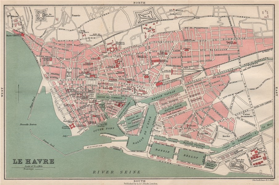 Associate Product LE HAVRE antique town city plan de la ville. Seine-Maritime 1913 old map