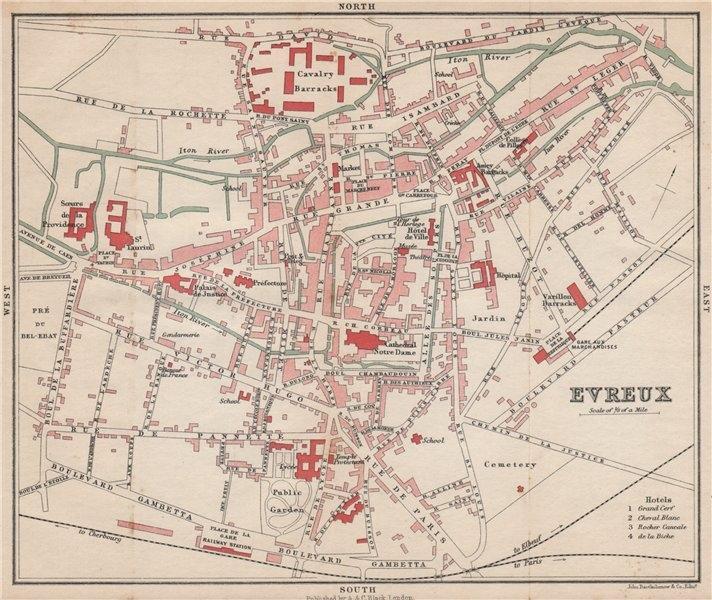 Associate Product EVREUX antique town city plan de la ville. Eure 1913 old map chart