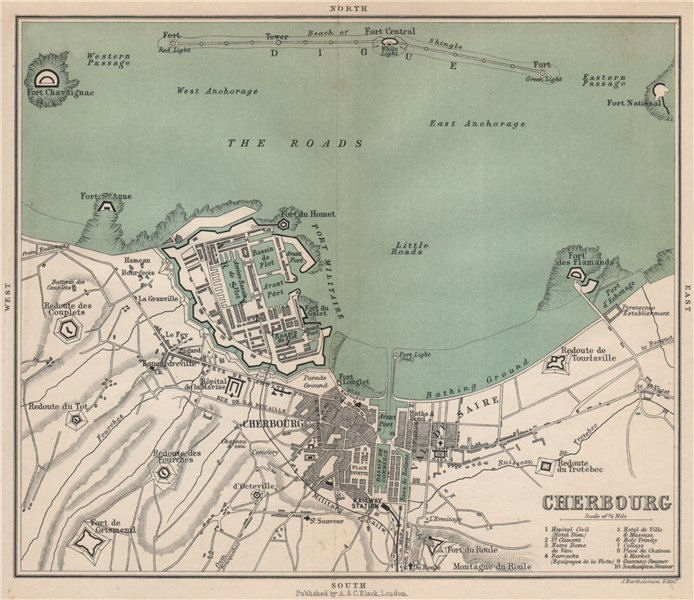 Associate Product CHERBOURG antique plan of the town ville & harbour/port. Manche 1913 old map