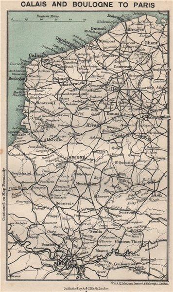 Associate Product Pas-de-Calais & Somme railways chemins de fer. Calais Boulogne to Paris 1913 map