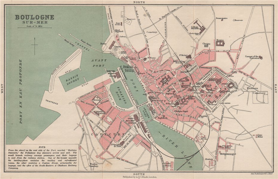 Associate Product BOULOGNE-SUR-MER antique town city plan de la ville. Harbour port 1913 old map