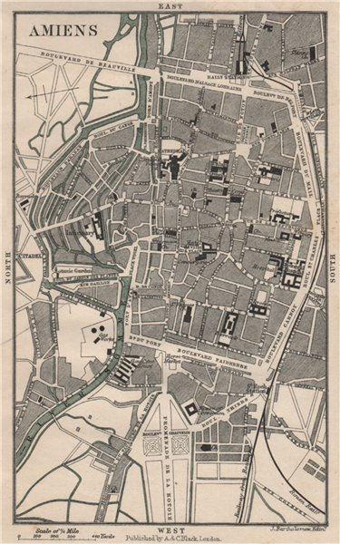 Associate Product AMIENS antique town city plan de la ville. Somme 1913 old map chart