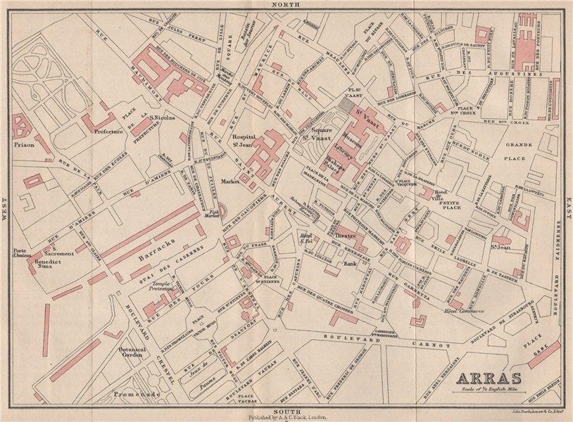 ARRAS antique town city plan de la ville. Pas-de-Calais 1913 old map