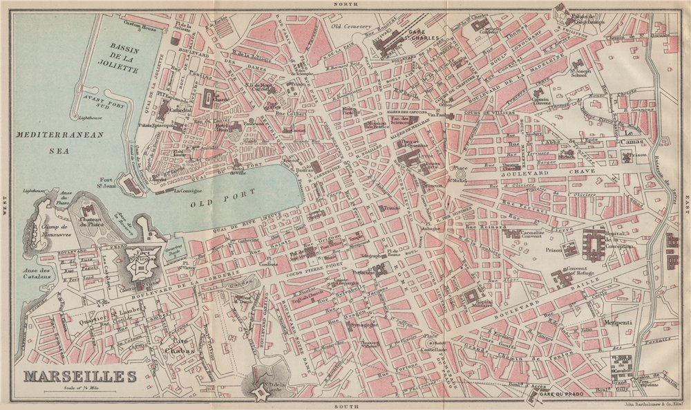 Associate Product MARSEILLES antique town city plan de la ville. Bouches-du-Rhône 1890 old map