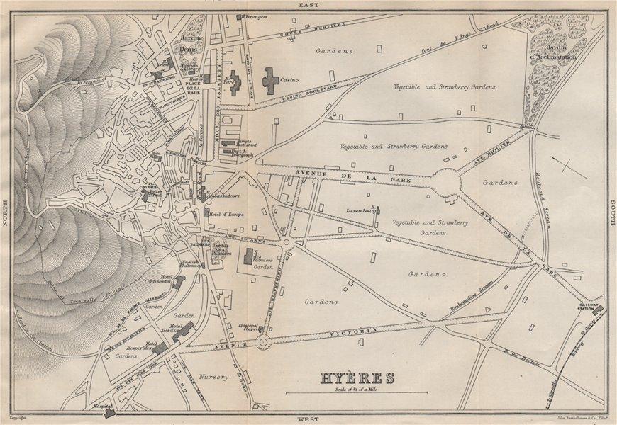 Associate Product HYÈRES antique town city plan de la ville. Var 1890 old map chart