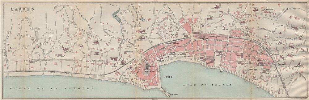 Associate Product CANNES antique town city plan de la ville. Croisette. Alpes-Maritimes  1890 map