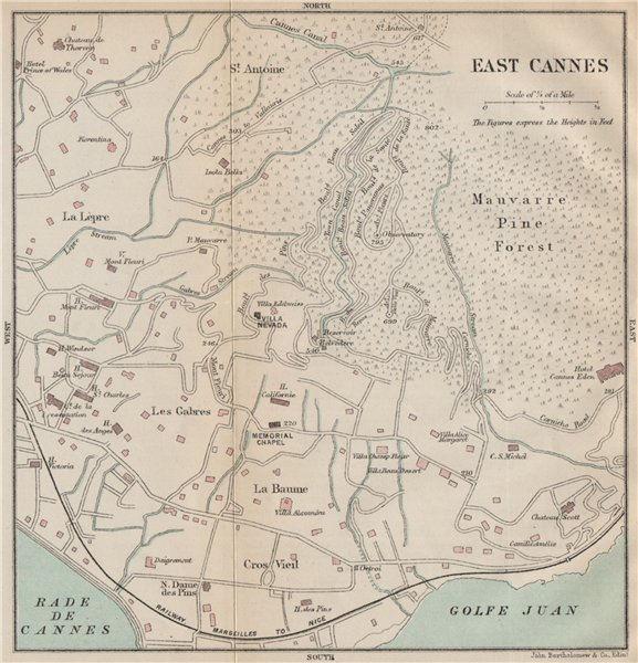 Associate Product EAST CANNES antique town city plan de la ville. Alpes-Maritimes  1890 old map