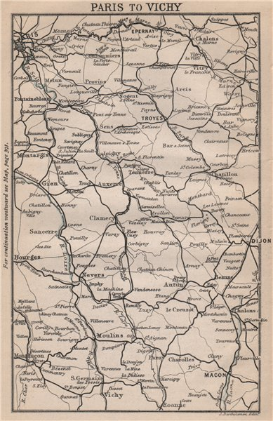 Associate Product PARIS TO VICHY. Bourgogne-Centre. Dijon Troyes Epernay Bourges 1885 old map
