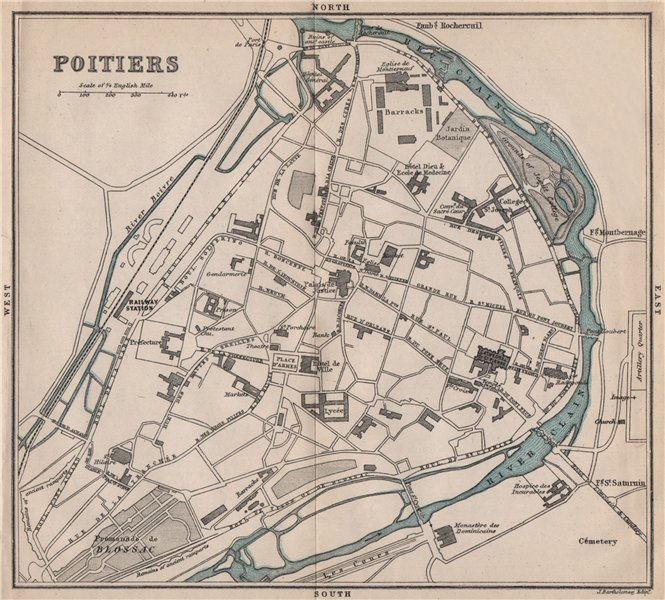 POITIERS antique town city plan de la ville. Vienne 1885 old map chart