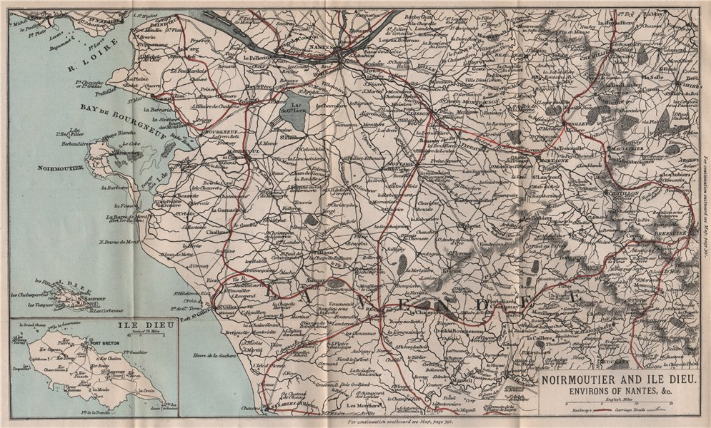 Associate Product NOIRMOUTIER & ÎLE DIEU. Nantes. Vendée 1885 old antique vintage map plan chart