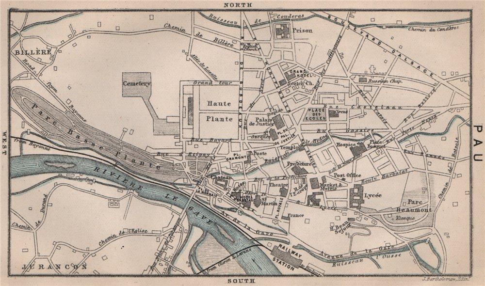 Associate Product PAU antique town city plan de la ville. Pyrénées-Atlantiques 1885 old map