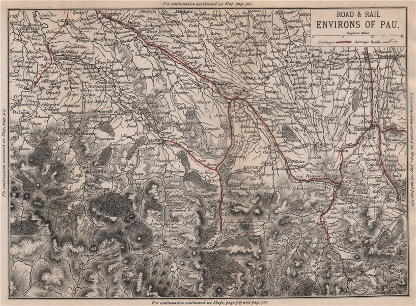 Associate Product PAU environs. Bigorre Lourdes Tarbes Cauterets. Railways 1885 old antique map