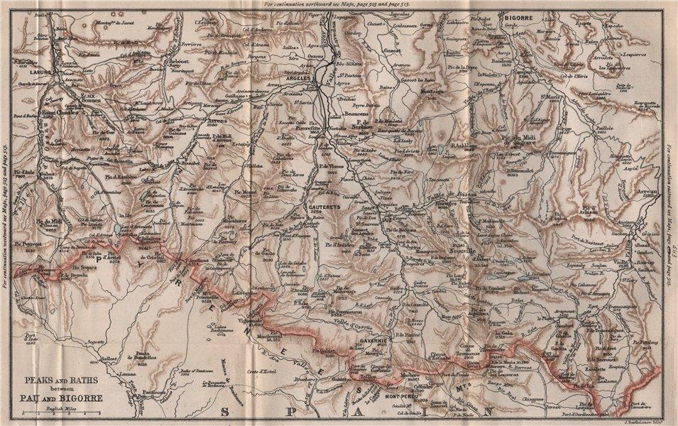 Associate Product Peaks & Spas between PAU & BIGORRE. Cauterets Argeles. Pyrénées 1885 old map