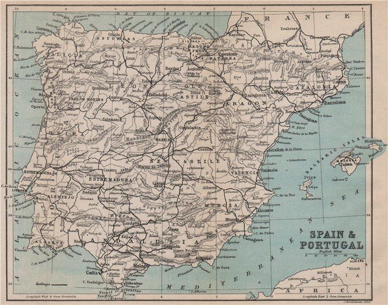 Associate Product SPAIN & PORTUGAL. Iberia railways 1885 old antique vintage map plan chart