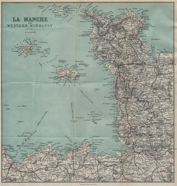 Associate Product MANCHE. Cotentin peninsula. Channel Islands. St Malo 1913 old antique map