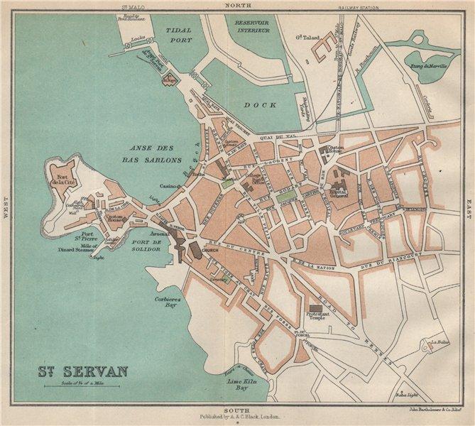Associate Product ST. SERVAN antique town city plan de la ville. Ille-et-Vilaine 1913 old map